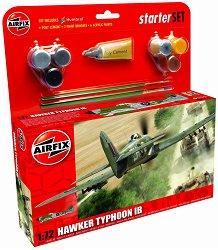 Бритенски военен самолет -  Hawker Typhoon Ib - Сглобяем авиомодел - комплект с лепило и боички -