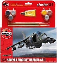 Британски изтребител - Hawker Siddeley Harrier GR1 - Сглобяем авиомодел - комплект с лепило и боички - макет