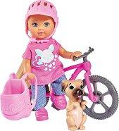 """Еви Лав с колело и кученце - Комплект за игра с аксесоари от серията """"Steffi Love"""" - кукла"""