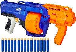 """Бластер - Strike Surgefire - Комплект с 15 меки стрелички от серията """"Nerf"""" -"""