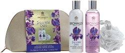 """Подаръчен комплект с несесер - Bronnley Iris & Wild Cassis - Душ гел, лосион за тяло и гъба за баня от серията """"Iris & Wild Cassis"""" -"""