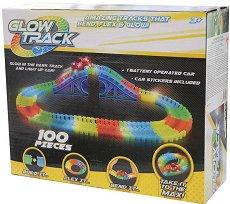 """Glow Track - 100 - Писта с количка от серията """"Asis: Фосфоресциращи писти"""" - играчка"""