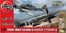 Германски и британски военен самолет - Focke Wulf Fw190A-8 and Hawker Typhoon Ib Dogfight - Сглобяеми авиомодели - комплект с лепило и боички -