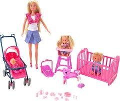 """Майка с 3 деца - Кукли и аксесоари от серията """"Steffi Love"""" - чанта"""