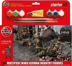 Германска пехота - Комплект от 6 фигури  с лепило и боички -