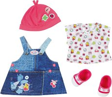 "Рокля, обувки и шапка - Deluxe Jeans Collection - Дрехи за кукли от серията ""Baby Born"" - детски аксесоар"