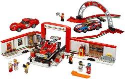 """Гараж и писта - Ferrari - Детски конструктор от серията """"LEGO: Speed Champions"""" - играчка"""