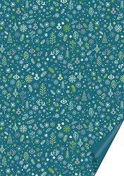 Двустранен картон за скрапбукинг - Тюркоазена Коледа - Размери 50 х 70 cm