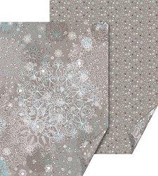 Двустранен картон за скрапбукинг - Сива Коледа - Размери 50 х 70 cm