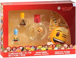 Детски подаръчен комплект - Emoji - Парфюми и табела за врата - ластик