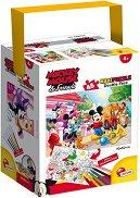 Мики Маус и приятели - Двулицев пъзел с едри елементи и 6 цветни флумастера -