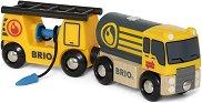 """Камион с цистерна и вагон за зареждане - Дървени играчки от серията """"Brio: Аксесоари"""" - играчка"""