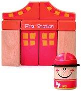 Дървен конструктор - Пожарна станция - 19 части -