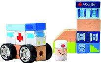 Дървен конструктор - Болница - 21 части - играчка