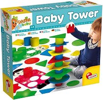 """Кула от геометрични фигури и цилиндъри - Комплект за сортиране и подреждане от серията """"Carotina Baby"""" - играчка"""