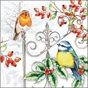 Салфетки за декупаж - Коледни птици - Пакет от 20 броя