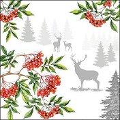 Салфетки за декупаж - Коледа в гората - Пакет от 20 броя