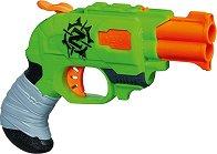 """Пистолет - Doublestrike - Комплект с 2 меки стрели от серията """"Nerf: Zombie Strike"""" - количка"""