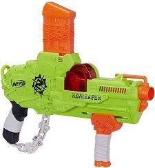"""Бластер - Revreaper - Комплект с 10 меки стрели от серията """"Nerf: Zombie Strike"""" - играчка"""