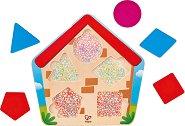 Кой е в къщата? - Детски дървен пъзел в нестандартна форма - продукт