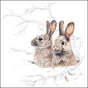 Салфетки за декупаж - Зимни зайчета - Пакет от 20 броя