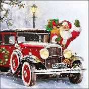Салфетки за декупаж - Колата на дядо Коледа - Пакет от 20 броя