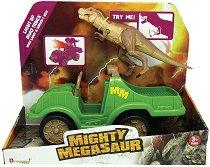 """Тиранозавър Рекс с Камион - Детска играчка със звуков и светлинен ефект от серията """"Mighty Megasaur"""" -"""