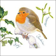 Салфетки за декупаж - Коледна червеношийка - Пакет от 20 броя