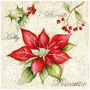 Салфетки за декупаж - Коледна звезда - Пакет от 20 броя