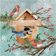 Салфетки за декупаж - Коледна къщичка за птици - Пакет от 20 броя