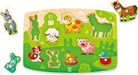 Домашни животни - Детски дървен пъзел с дръжки -