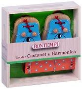 Комплект хармоника и кастанети - Мече - Детски музикални инструменти -