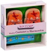 Комплект хармоника и кастанети - Коте - Детски музикални инструменти -