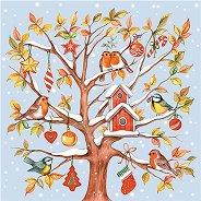 Салфетки за декупаж - Снежно дърво с птички - Пакет от 20 броя