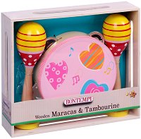Маракаси и тамбурина - Комплект детски дървени музикални инструменти - играчка