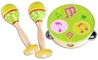 Маракаси и тамбурина - Комплект детски дървени музикални инструменти -