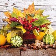 Салфетки за декупаж - Есенни листа с тикви - Пакет от 20 броя