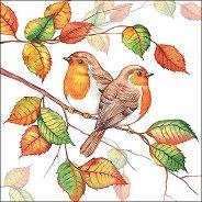 Салфетки за декупаж - Есенни червеношийки - Пакет от 20 броя