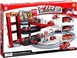 Писта на три нива - Пожарна станция - Комплект с колички и аксесоари - играчка