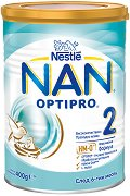 Висококачествено преходно мляко - Nestle NAN OPTIPRO 2 HM-O - Метална кутия от 400 g за бебета над 6 месеца - биберон
