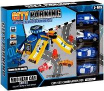 Мини писта - Полицейски участък - Комплект с колички и аксесоари - играчка