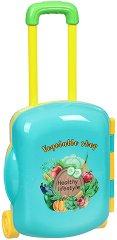 Магазин за зеленчуци - Детски комплект с аксесоари в куфарче с  колелца -