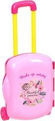 Тоалетка за разкрасяване - Детски комплект с аксесоари в куфарче с  колелца -