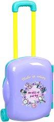 Салон за красота - Детски комплект с аксесоари в куфарче с  колелца -