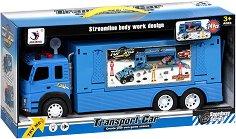 Състезателен екип - Комплект в товарен камион със звуков и светлинен ефект - кукла