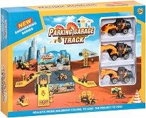 Паркинг за строителни машини - Комплект с багери - играчка