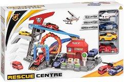 Писта - Спасителен център - Комплект с колички - играчка