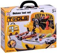 Строителни инструментти в куфарче на колела - Детски комплект за игра -