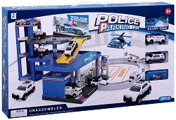 Полицейски паркинг - Комплект за игра с 4 колички -