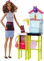 """Барби - Кучешки фризьорски салон - Кукла с аксесоари от серията """"Barbie"""" - играчка"""